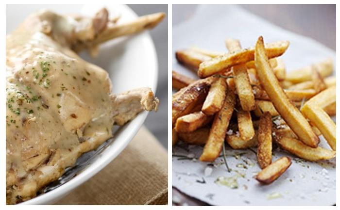 Cuisses de lapin et frites au four